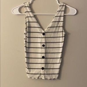 White striped caution to the wind top